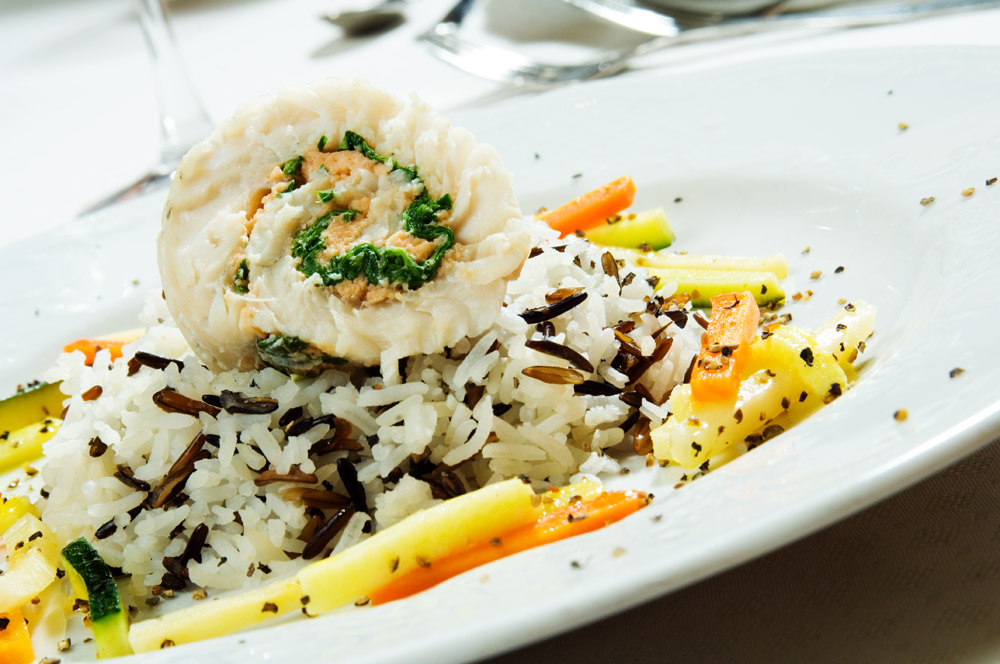 Fish with wild rice and vegetables